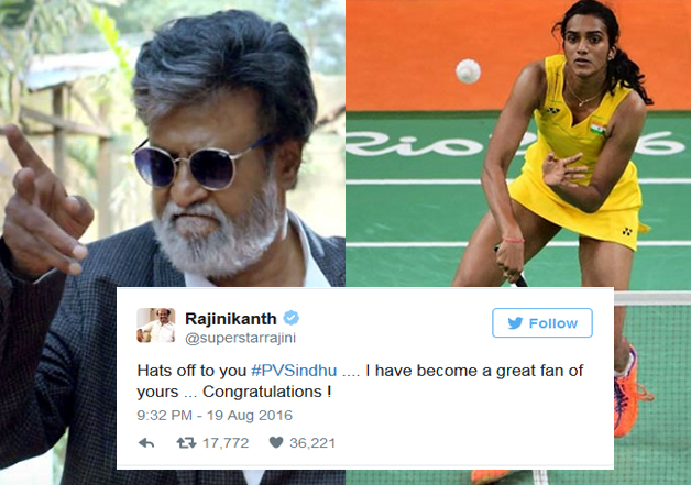 Rajinkanth's congratulatory tweet for shuttler gets over