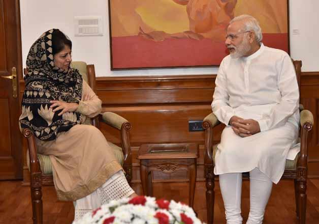 Mehbooba Mufti and PM Narendra Modi