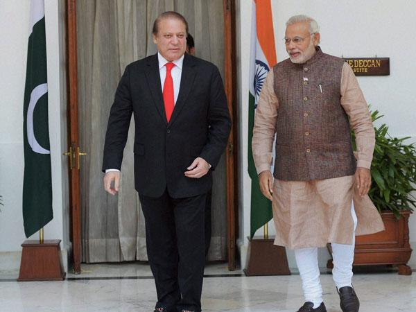 Nawaz Sharif with Narendra Modi