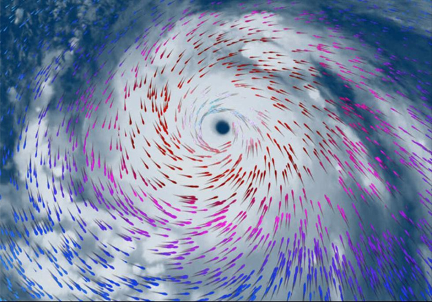 India Tv - Meranti's cyclonic (counterclockwise) wind flow around its eye