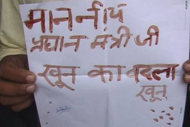 Youths write letters to PM Modi with blood