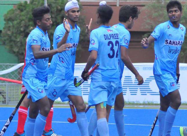ndian men's U-18 hockey team after win against Oman on