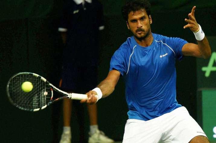 India's Saketh Myneni in action against Spain's David