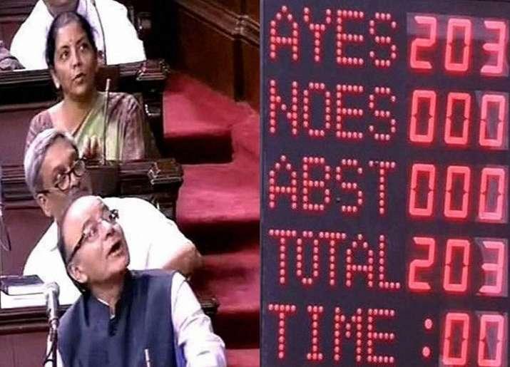 Arun Jaitley looks as GST Bill is put to vote in Rajya Sabha