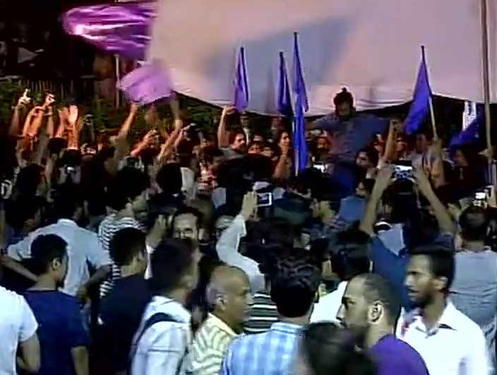 Celebration in JNU after Students Union election results