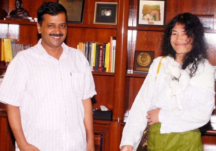 Arvind Kejriwal with Irom Sharmila in New Delhi