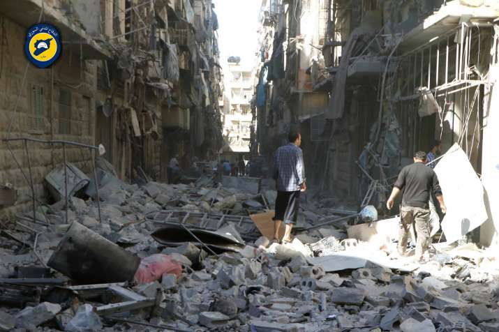 India Tv - Destruction caused by Syrian and Russian airstrikes in Aleppo