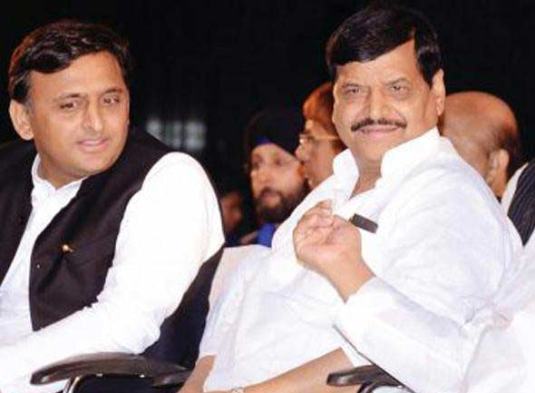 Akhilesh Yadav and Shivpal Singh Yadav