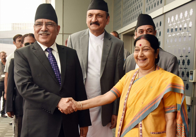 Nepal PM Prachanda and Sushma Swaraj