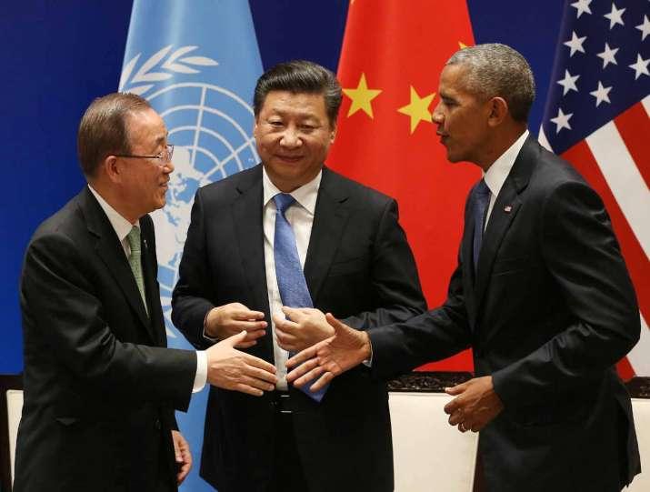 Ban Ki-moon, Xi Jinping and Barack Obama