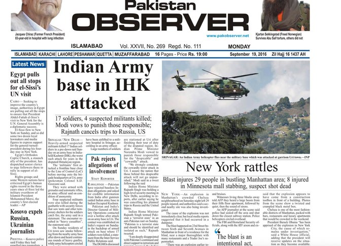 India Tv - Uri attack coverage in The Pakistan Observer