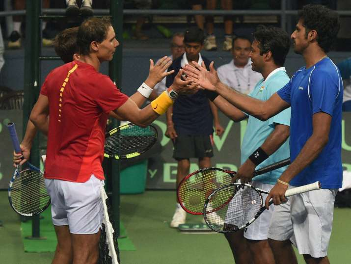 Rafael Nadal with Leander Paes at Davis Cup match