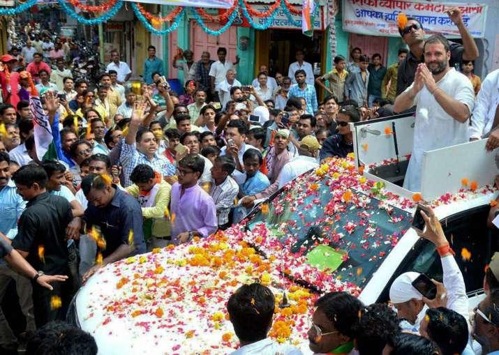 Congress vice president Rahul Gandhi during his kisan yatra