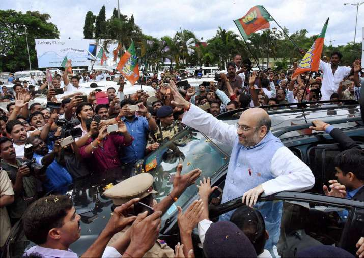 BJP President Amit Shah being welcomed on his arrival at