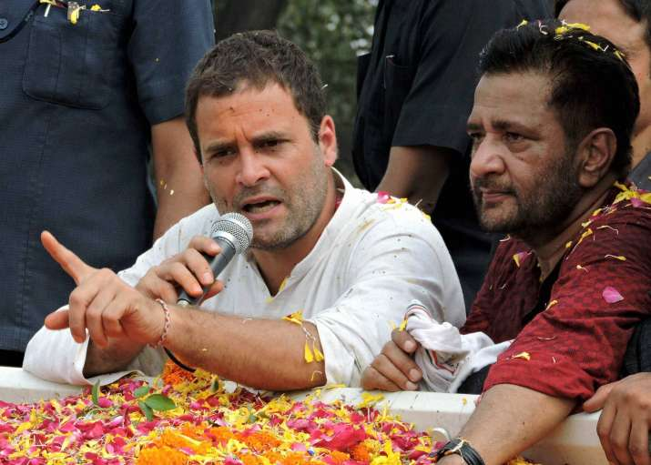 Congress Vice President Rahul Gandhi speaks during a road