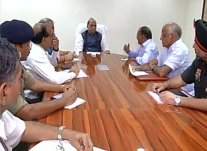Home Minister Rajnath Singh at a high level meeting at his