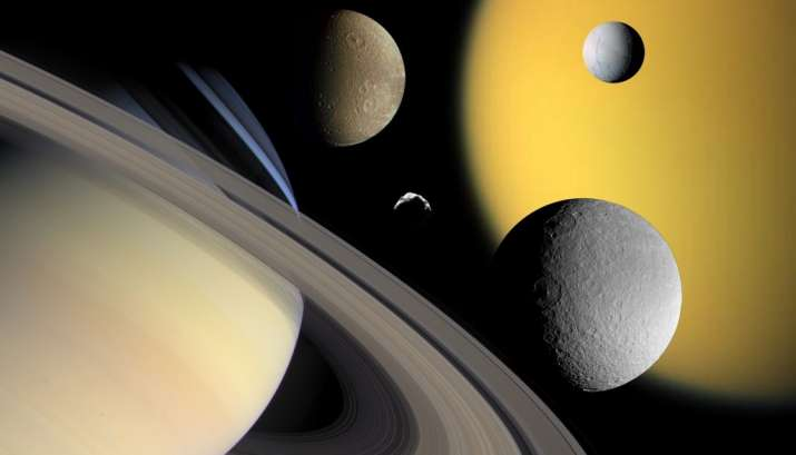 India Tv - Saturn with different moons