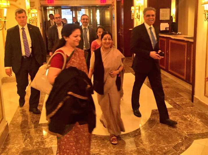 External Affairs Minister Sushma Swaraj arrives in New York