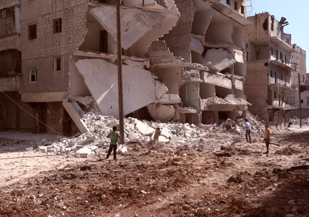 A view of Aleppo city after government airstrikes against