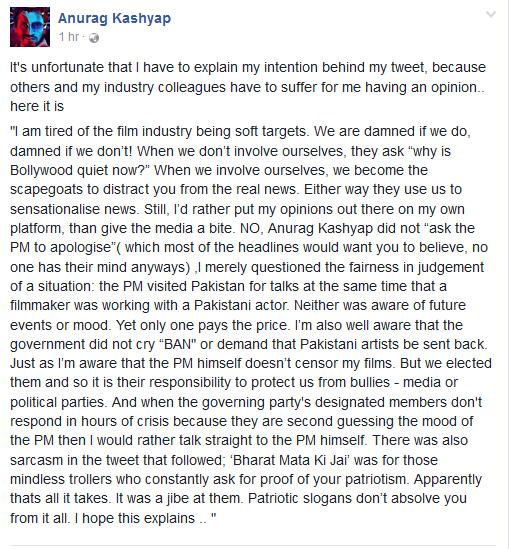 India Tv - Anurag Kashyap's FB post