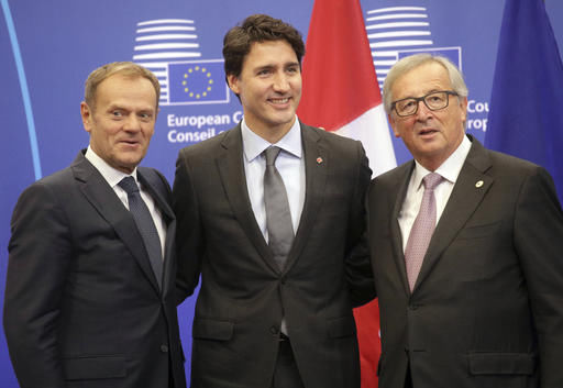 Justin Trudeau with EU leaders
