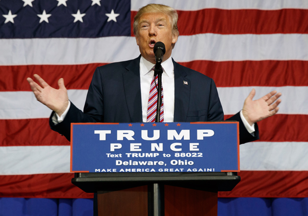 Donald Trump speaks during a campaign rally at the Delaware