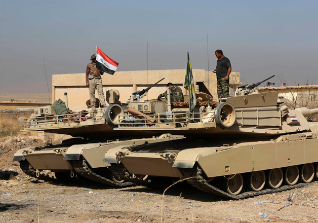 Iraqi forces deployed during an offensive to retake Mosul