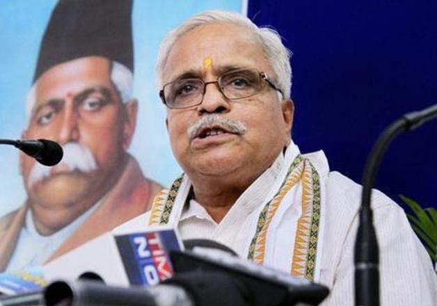 File pic - RSS leader Bhaiyaji Joshi speaks to media