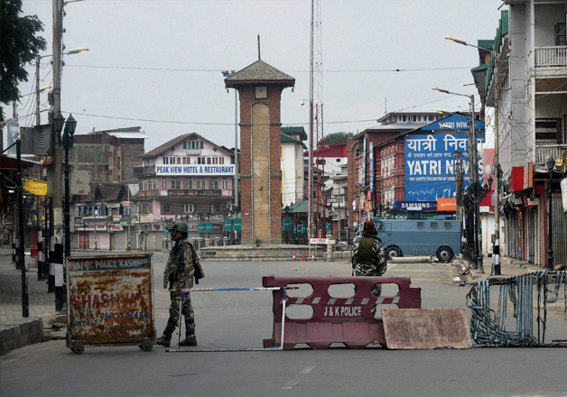 File pic - Security forces on duty at Lal Chowk
