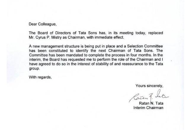 India Tv - Ratan Tata's letter to employees