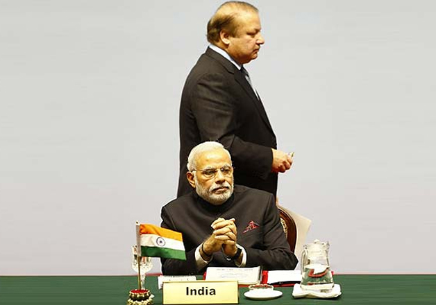 File pic - Narendra Modi and Nawaz Sharif at SAARC Summit