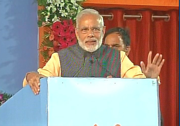 PM Modi addressing a gathering of ex-servicemen in Bhopal.