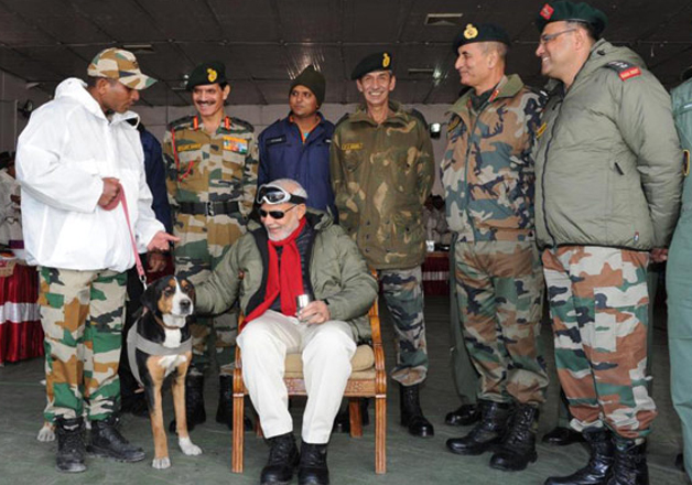 PM Modi interacts with soldiers in Siachen on the occasion