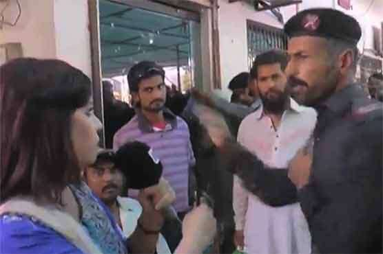 Pakistani security guard slaps lady reporter on live TV,