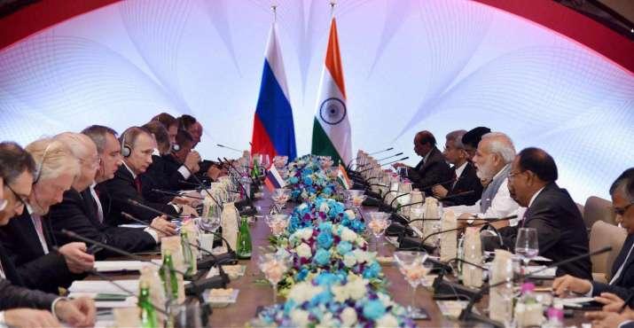 India Tv - PM Narendra Modi and Vladimir Putin at the delegation level talks in Goa