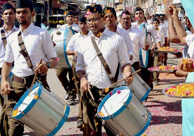 RSS activists taking pat in a parade on Vijayadashmi