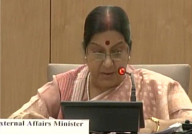 Sushma Swaraj speaking at the BRICS media forum