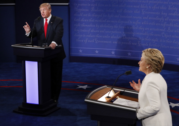 Donald Trump and Hillary Clinton during third presidential