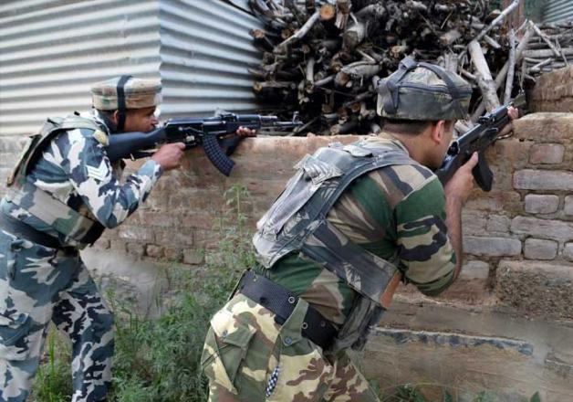 File pic of jawans fighting against militants in Kashmir