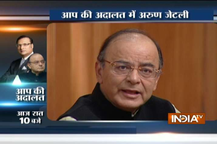 Finance Minister Arun Jaitley in Aap Ki Adalat with Rajat
