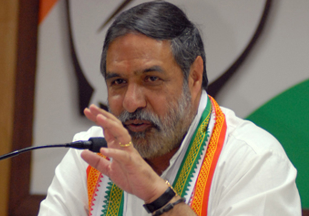 File pic of Anand Sharma addressing media in New Delhi