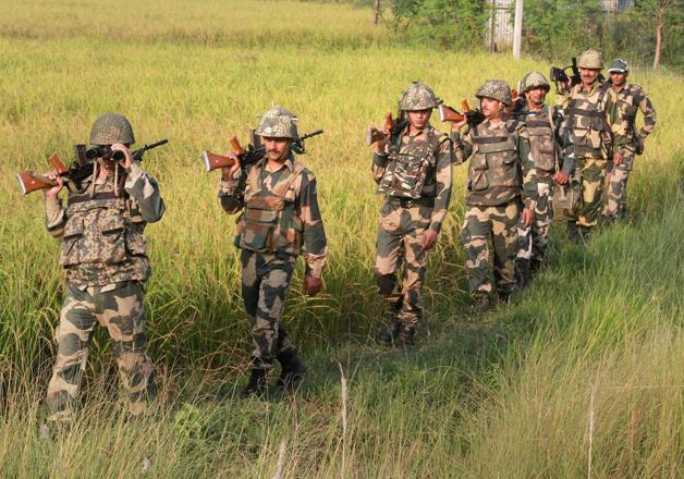 Army jawans during foot patrolling in Jammu