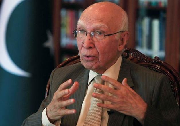 File pic of top Pak diplomat Sartaj Aziz