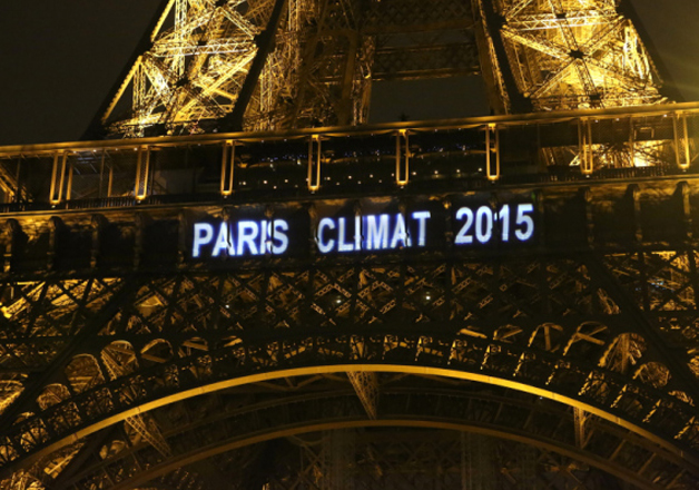 File pic - The Eiffel tower lit up during the Paris climate