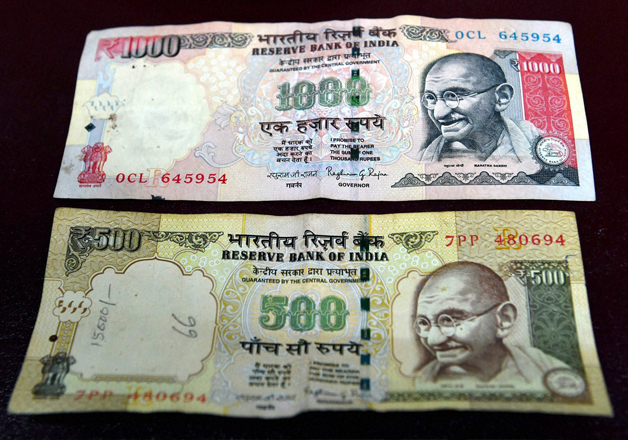 File pic - Rs 500 and Rs 1000 notes on display