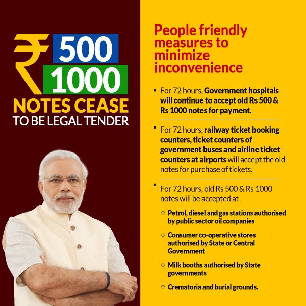 India Tv - Rs 500, Rs 1000 notes cease to exist from midnight