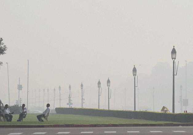 A view of Rajpath covered with dense smog in New Delhi on