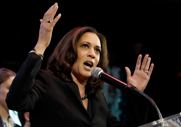 Kamala Harris speaks to supporters at a election night