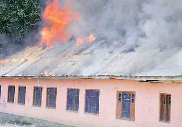 File pic - Bandipore school set on fire by unknown persons.