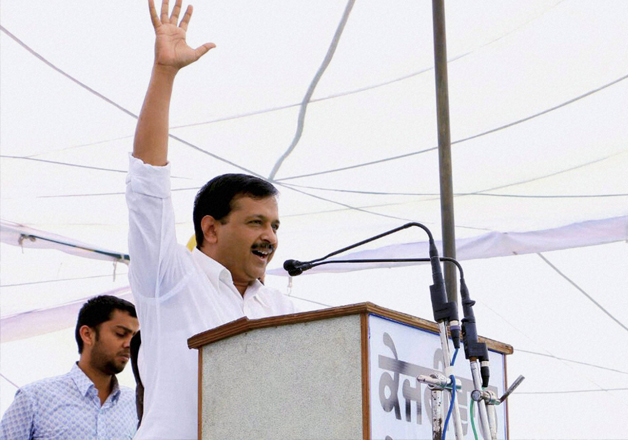Arvind Kejriwal addressing a public rally at Dhuri in